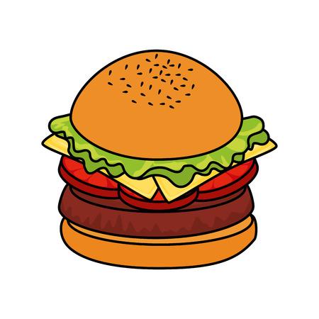 hamburguesa comida rápida sobre fondo blanco gráfico