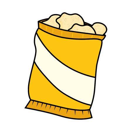 白い背景のグラフィックの上ポテトチップス袋