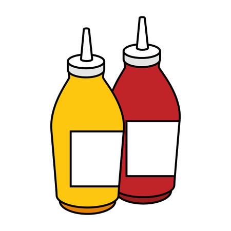 sauce bottles image over white background graphic Illustration