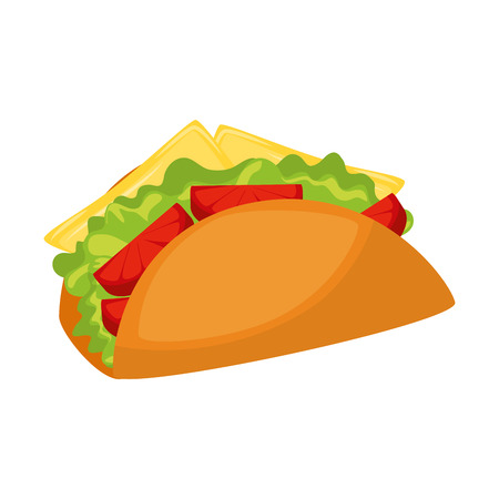 taco fast food over white background graphic