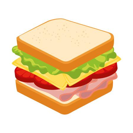 흰색 배경 그래픽 위에 샌드위치 맛있는 음식 일러스트