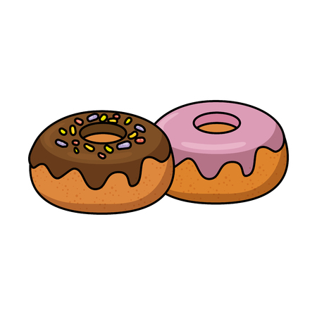 sweet donuts dessert over white background graphic Stock Photo