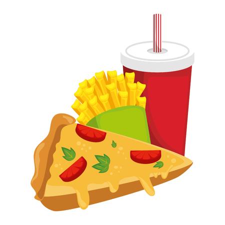 pizza papas fritas y el icono de refresco sobre fondo blanco ilustración vectorial colorido diseño