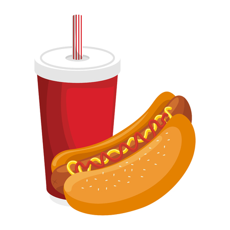 hot dog and soft drink icon over white background vector illustration Ilustração