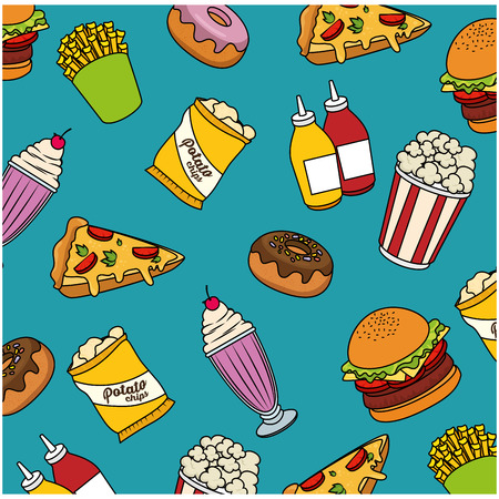 fast food background colorful design vector illustration