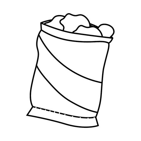 白い背景のベクトル図にポテトチップス袋アイコン