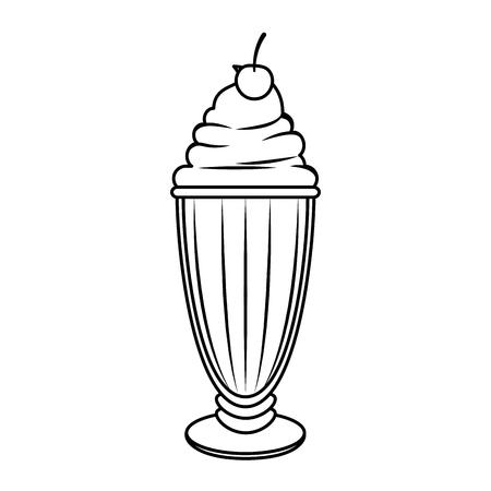 白い背景のベクトル図に甘いミルクセーキ アイコン