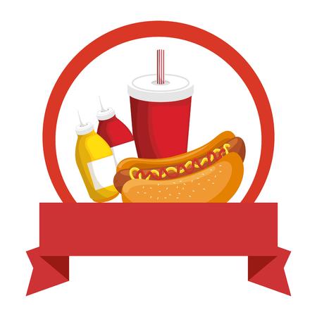 embleem met hotdog en frieten pictogram over witte achtergrond kleurrijke ontwerp vectorillustratie Stock Illustratie