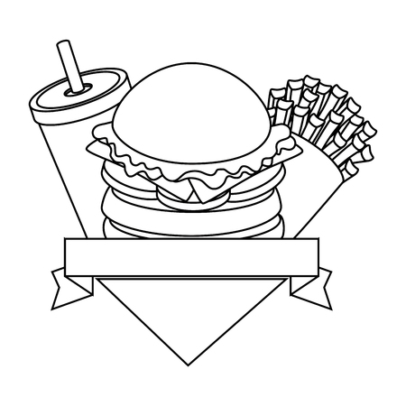 emblem with hamburger and soft drink cup icon over white background vector illustration