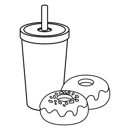 白い背景のベクトル図をカップと甘いドーナツ アイコンを飲む