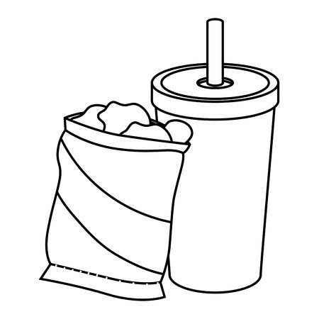 ポテトチップスの袋と白い背景上のソフトド リンク アイコン ベクトル イラスト