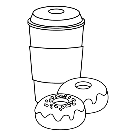 sweet donuts and coffee cup icon over white background vector illustration