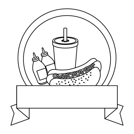 emblem with hot dog and french fries icon over white background vector illustration