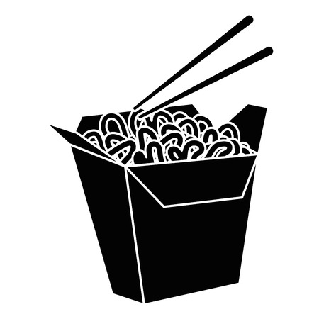 noddle box icon over white background vector illustration Иллюстрация