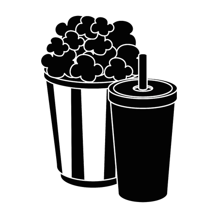 popcorn bucket and soft drink bucket icon over white background vector illustration Illustration
