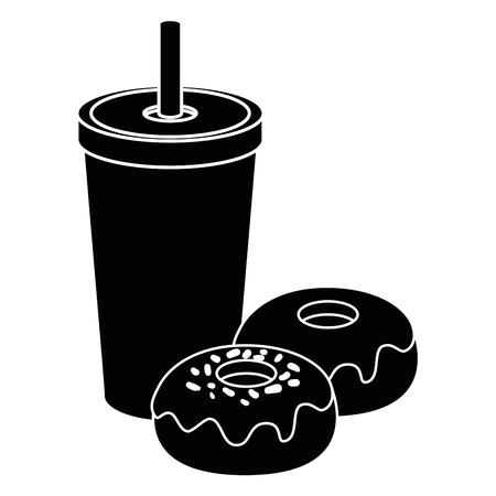 흰색 배경 벡터 일러스트 레이 션 위에 컵과 달콤한 도넛 아이콘 마시는