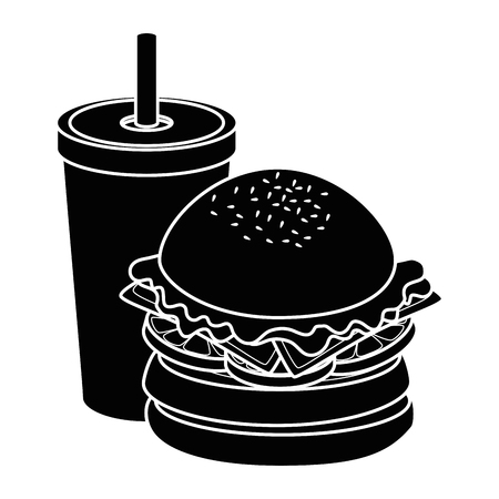 hamburger and soft drink cup icon over white background vector illustration Ilustração