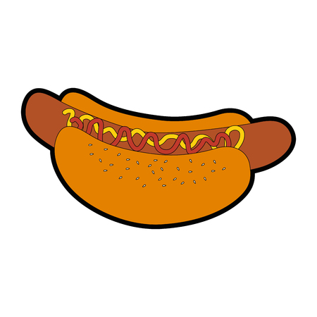 hot dog fast food over white background graphic