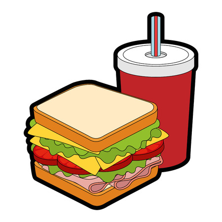 sandwich delicious food over white background graphic