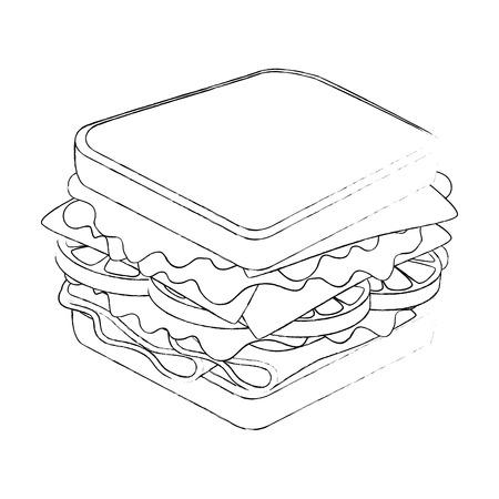 Sandwich leckeres Essen über weißem Hintergrund Grafik Standard-Bild - 83190199