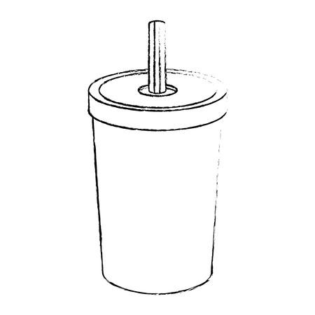 흰색 배경 그래픽 위에 소다 음료 이미지 일러스트