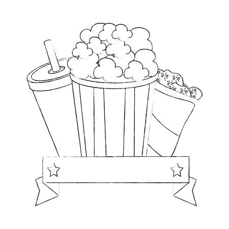 Seau pop-corn sur fond blanc graphique Banque d'images - 83190207