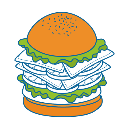 hamburger fast food over white background graphic