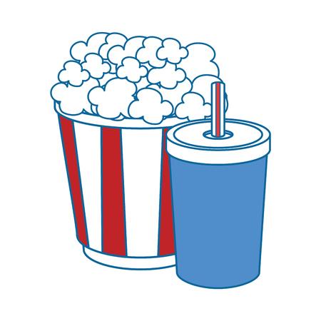 Seau de pop-corn et icône de seau de boisson gazeuse sur illustration vectorielle fond blanc Banque d'images - 83190430