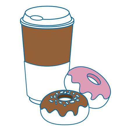 甘いドーナツとコーヒー カップのアイコンを白い背景上のベクトル イラスト