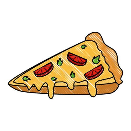 Pizza pictogram op witte achtergrond kleurrijke ontwerp vector illustratie
