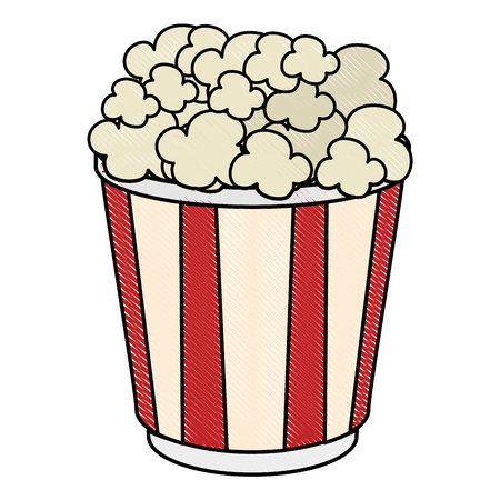 popcorn bucket icon over white background vector illustration