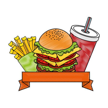 emblem with hamburger and soft drink cup icon over white background colorful design vector illustration