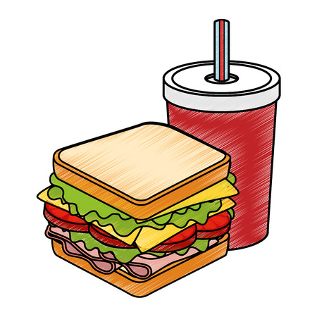 toasted: sandwich with soda drink icon over white background colorful design  vector illustration