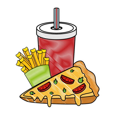 pizza french fries and soft drink  icon over white background colorful design  vector illustration