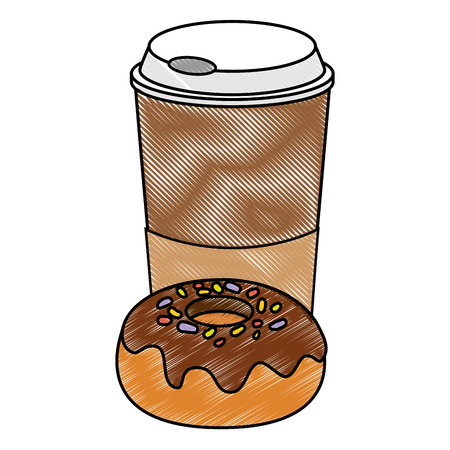 drink cup and sweet donut icon over white background vector illustration