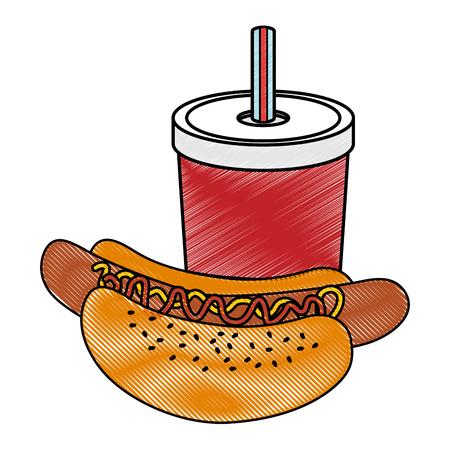 hotdog en frisdrank pictogram over witte achtergrond vectorillustratie
