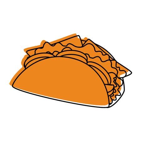 taco icon over white background colorful design vector illustration