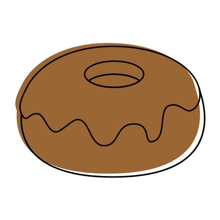 흰색 배경 벡터 일러스트 레이 션 위에 달콤한 도넛 아이콘