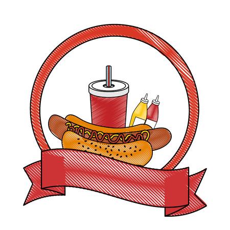 白地カラフルなデザインのベクトル図でホットドッグとフライド ポテトのアイコンとエンブレム  イラスト・ベクター素材