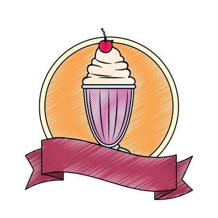 白地カラフルなデザインのベクトル図にミルクセーキ アイコンとエンブレム