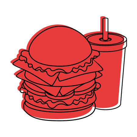 hamburger and soft drink cup icon over white background colorful design vector illustration