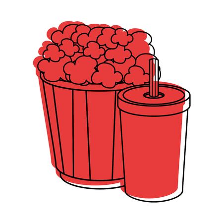 popcorn bucket and soft drink bucket icon over white background vector illustration Иллюстрация