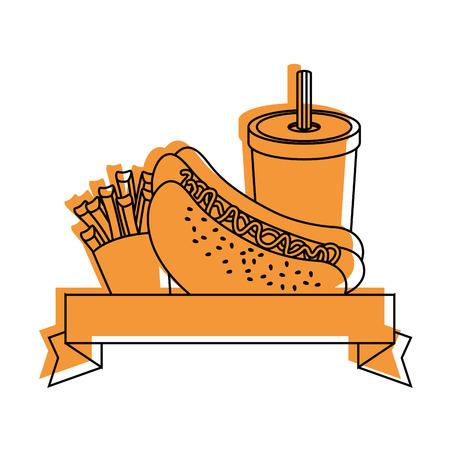 hot dog and soft drink icon over white background vector illustration Illustration