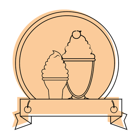 emblem with ice cream icon over white background vector illustration