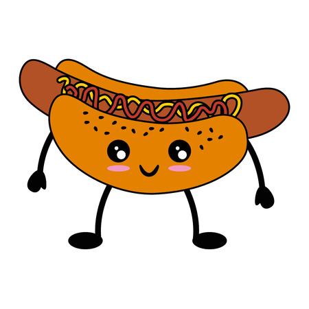 hotdog pictogram over witte achtergrond kleurrijke ontwerp vectorillustratie