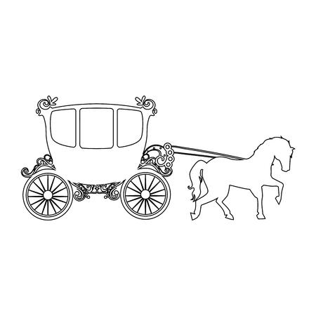 chariot médiéval avec cheval icône sur fond blanc illustration vectorielle Vecteurs