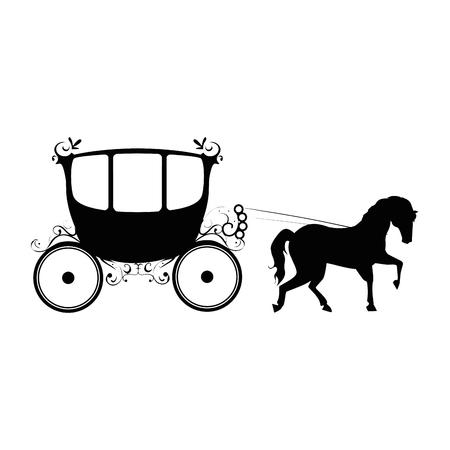 白い背景のベクトル図に馬のアイコンと中世の運送