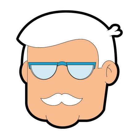흰색 배경 벡터 일러스트 레이 션을 통해 할아버지 얼굴 아이콘. 일러스트