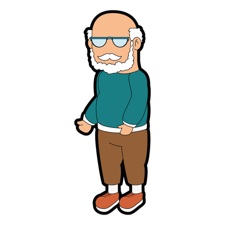 Avatar grandfather icon over white background colorful design vector illustration. Иллюстрация