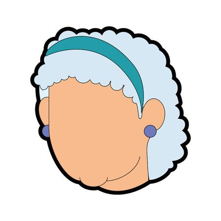 Avatar grandmother face icon over white background vector illustration.